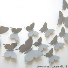 3D vlinders grijs