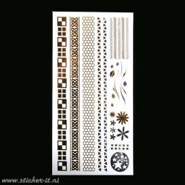 FT024 Flash tattoo zilver / goud