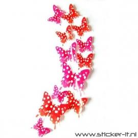 3D vlinders stippen rood-roze