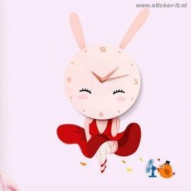 KS002 Kloksticker roze konijn