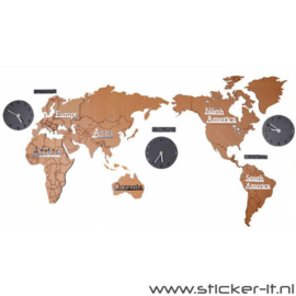 3D houten wereldkaart incl. wandklokken bruin-zwart