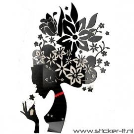 3D sticker - Bloemenmeisje 2 div. kleuren