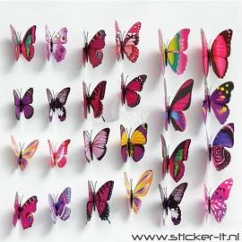 3D vlinders luxe paars / roze