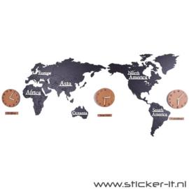 3D houten wereldkaart incl. wandklokken zwart-bruin