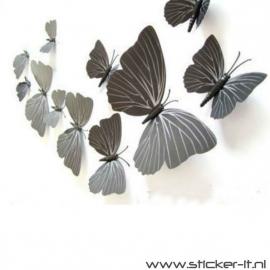 3D vlinders luxe zwart