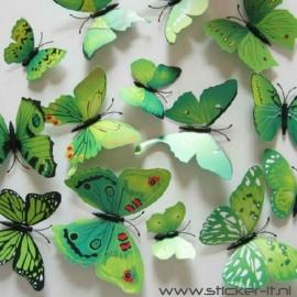 3D vlinders luxe groen