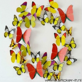 3D vlinders luxe geel / oranje