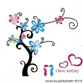 3D sticker - Grote boom blauw met roze