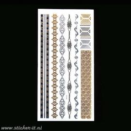 FT010 Flash tattoo zilver / goud