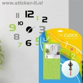 KS007 Kloksticker groene en zwarte cijfers