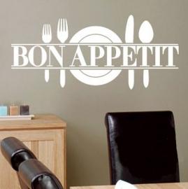 HS001 Bon Appetit restaurant sticker wit of zwart