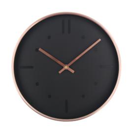 Moderne wandklok koper-zwart