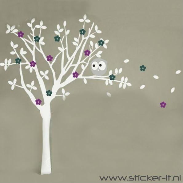 BD028 Witte boom met paarse en grijze bloemen