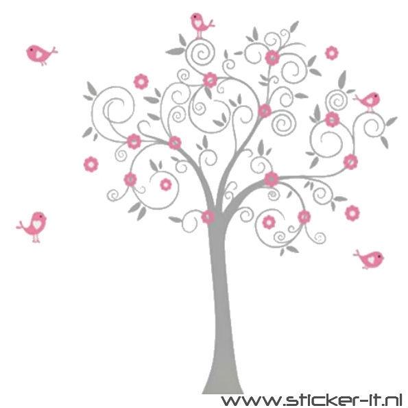 BD033 Grijze boom met roze bladeren