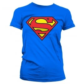 Superman T-shirt Logo Dames Slim Fit (blauw)