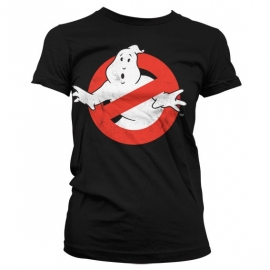 Ghostbusters T-shirt Logo Distressed Dames Slim Fit (zwart)