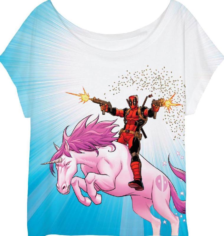 Deadpool T-shirt Unicorn Dames (sublimatieprint)