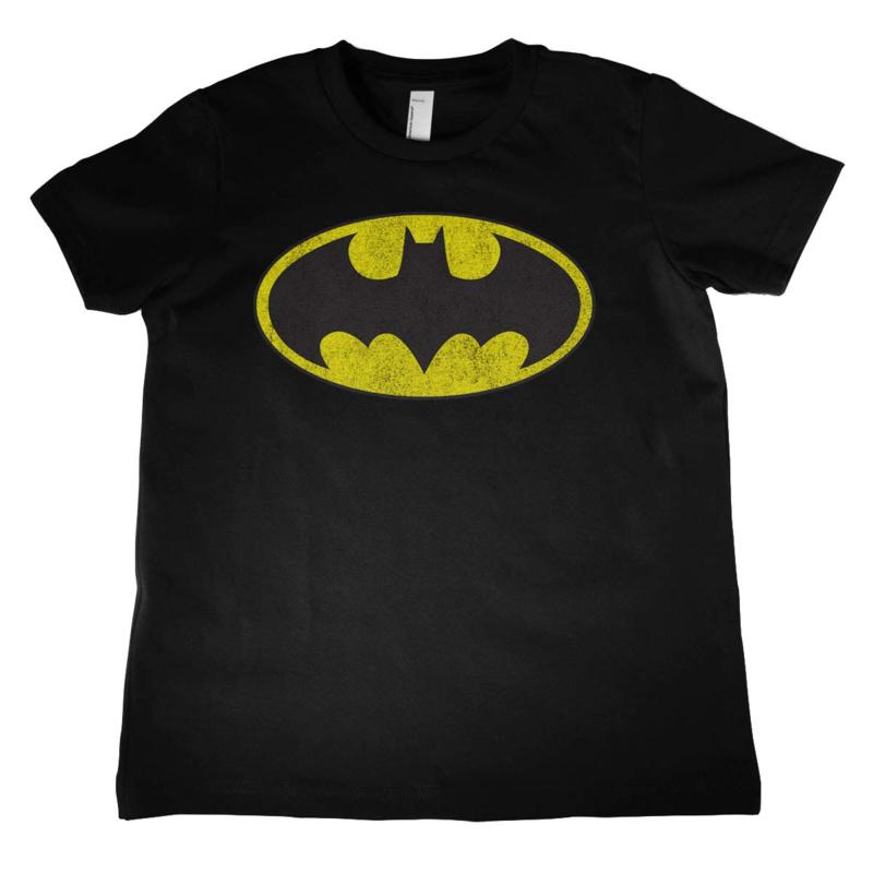Batman T-shirt Logo Distressed Kids (zwart)