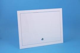 Inspectieluik 400x400mm, wit ( met slot )