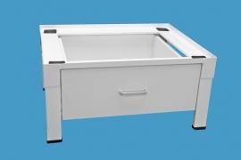 Wasmachine/droger verhoger met lade hout, met verstelbare voetjes ( gelast model )