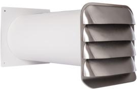 RVS buitenrooster Eco+ Ø150mm vaste lamellen en muurdoorvoer