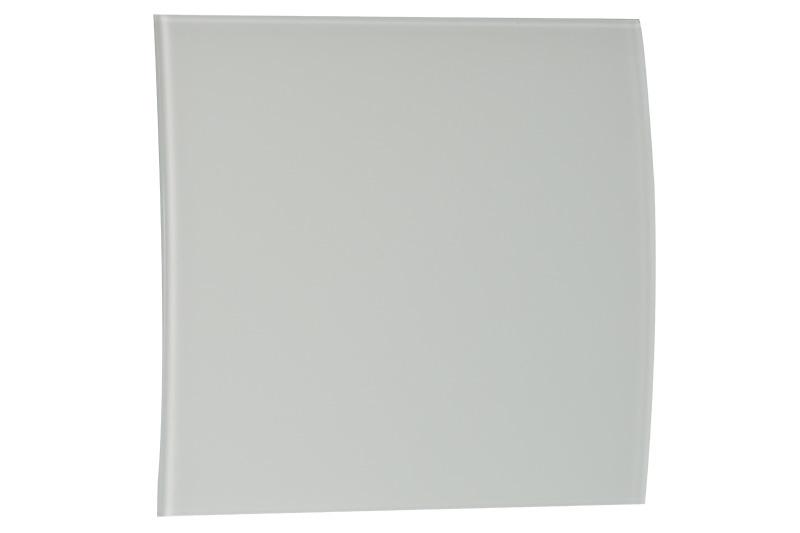 Voorfront tbv designventilator/designrooster Ø 100mm, Mat wit Glas ( gebogen )