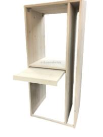 Wasmachine ombouw op elkaar met uitschuifbare plank en een vak voor de strijkplank