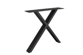 Stalen X kruispoot koker 10x4 cm, set van 2, incl. coating