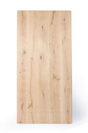 Massief recht eiken tafelblad 8 cm dik 4+4 cm, glad geschuurd