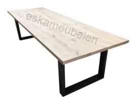 Massief eikenhouten (eet) tafel met U poot/onderstel