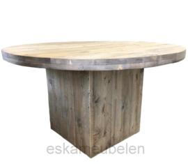 Ronde steigerhouten tafel met blokpoot