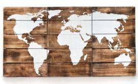 Drieluik wereldkaart