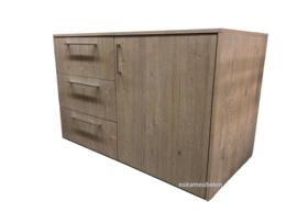 Wasmachine ombouw van Eikenhout met lades