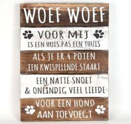Tekstbord voor 'Hondenliefhebbers'