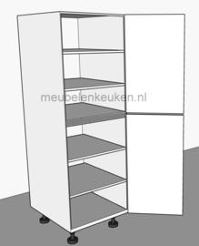 Voorraadkast voorzien van 4 verstelbare legplanken en 1 vaste GREEPLOOS