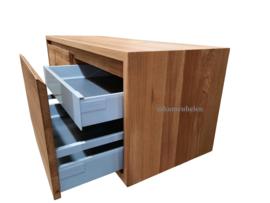 Badkamermeubel 'Milou' van eikenhout met 2 lades 1 verborgen lade en rondom een versteklijst (met 45 graden greep)