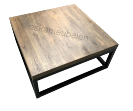 Salontafel kubus eikenhout en staal