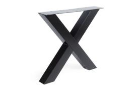 Stalen X Kruispoot koker 10x10 cm, set van 2, incl. coating