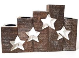 Waxinehouder set met sterren in Antique White of Naturel