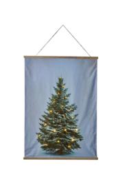 Kerstboom op doek met LED lampjes 90 x 120 cm