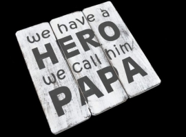 Tekstbord Antique white 'Papa'