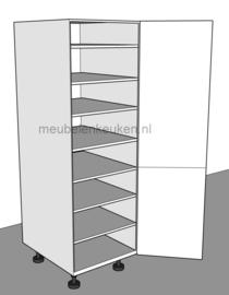 Voorraadkast voorzien van 6 verstelbare legplanken en 1 vaste tussenbodem