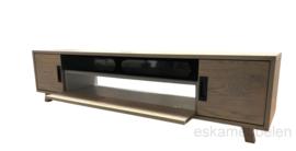 Tv meubel 'Gustave' van eikenhout met stof bespannen klep