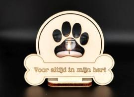Waxinehouder 'Voor altijd in mijn hart' hond
