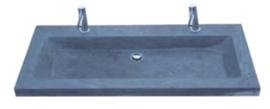 Wastafel Compact Stone Hardsteen 100x38x5cm met 2 Kraangaten