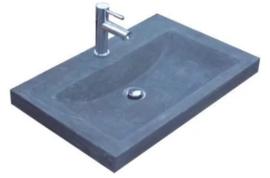 Wastafel Compact Stone Hardsteen 60x38x5cm met 1 Kraangat