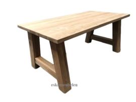 Massief eikenhouten (eet) tafel met A poot/onderstel