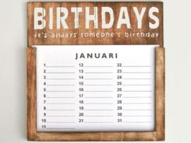 Verjaardags kalender 30cm Naturel