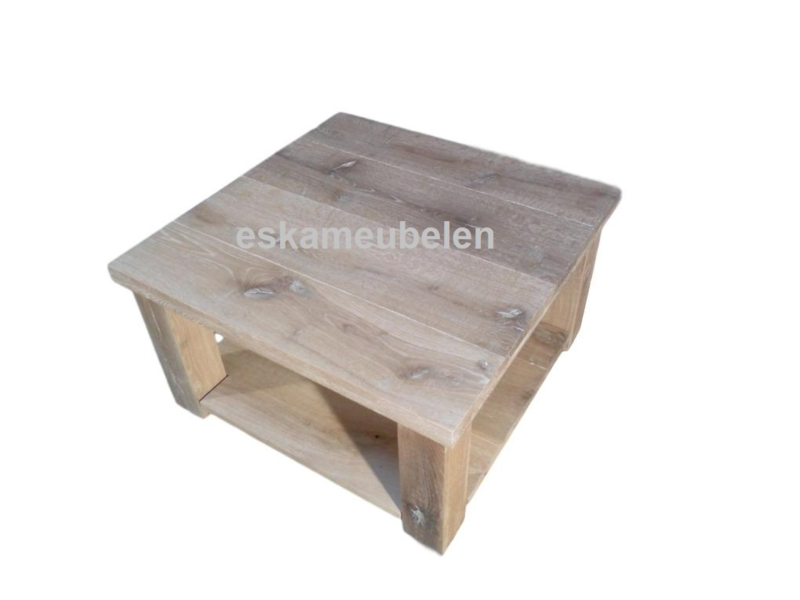 Salontafel van eikenhout met onderblad