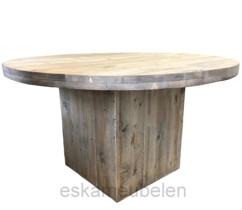Ronde Eettafel Steigerhout.Ronde Steigerhouten Tafel Met Blokpoot Eettafels Eska